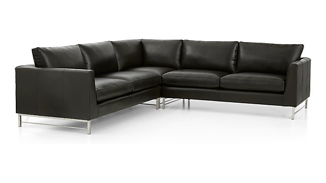 Tyson Leather 3-Piece Left Corner Sectional with Stainless Steel Base(Left Arm Sofa, Left Corner Chair, Right Arm Sofa) shown in Logan, Smoke