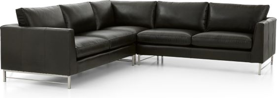 Tyson Leather 3-Piece Right Corner Sectional with Stainless Steel Base(Left Arm Sofa, Right Corner Chair, Right Arm Sofa) shown in Logan, Smoke