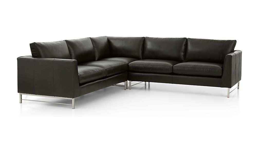 Tyson Leather 3-Piece Right Corner Sectional with Stainless Steel Base - Image 2 of 3