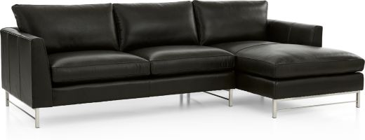 Tyson Leather 2-Piece Right Arm Chaise Sectional with Stainless Steel Base(Left Arm Sofa, Right Arm Chaise) shown in Logan, Smoke