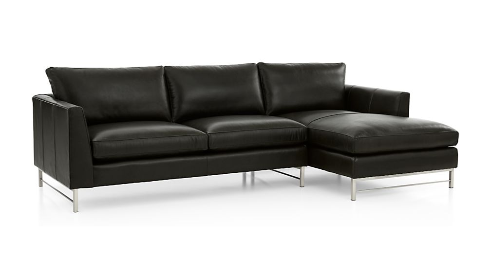 Tyson Leather 2-Piece Right Arm Chaise Sectional with Stainless Steel Base - Image 2 of 4