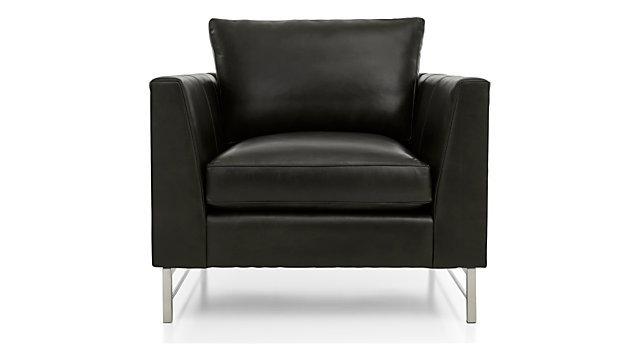 Tyson Leather Chair with Stainless Steel Base shown in Logan, Smoke