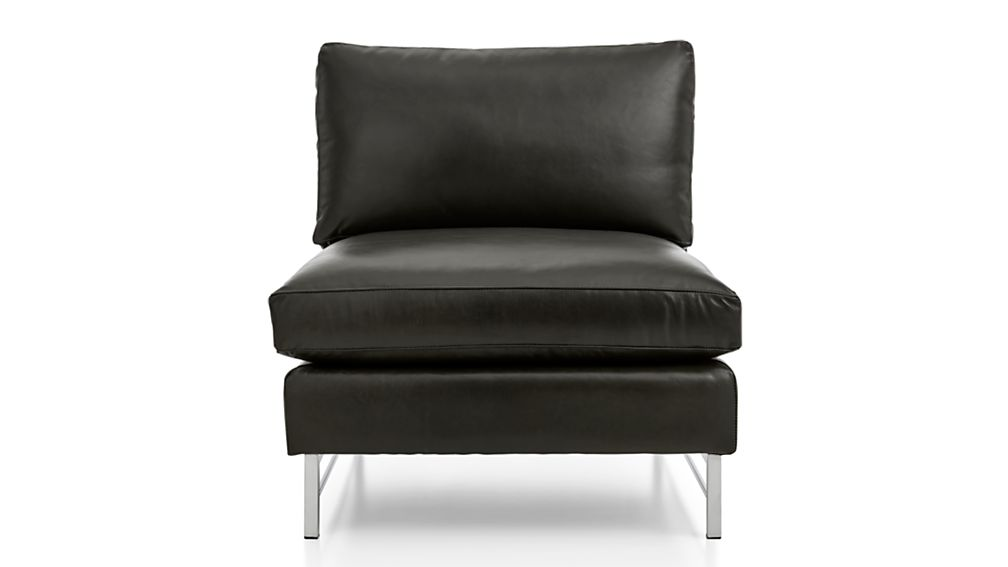 Tyson Leather Armless Chair with Stainless Steel Base - Image 2 of 5