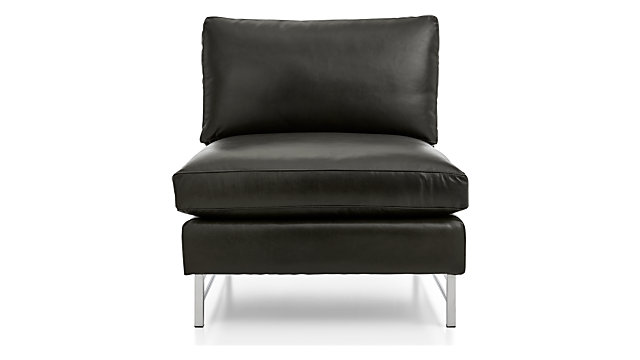 Tyson Leather Armless Chair with Stainless Steel Base shown in Logan, Smoke