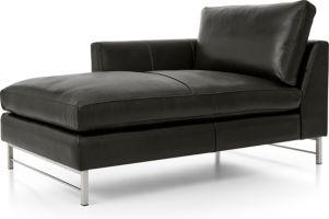 Tyson Leather Left Arm Chaise with Stainless Steel Base shown in Logan, Smoke