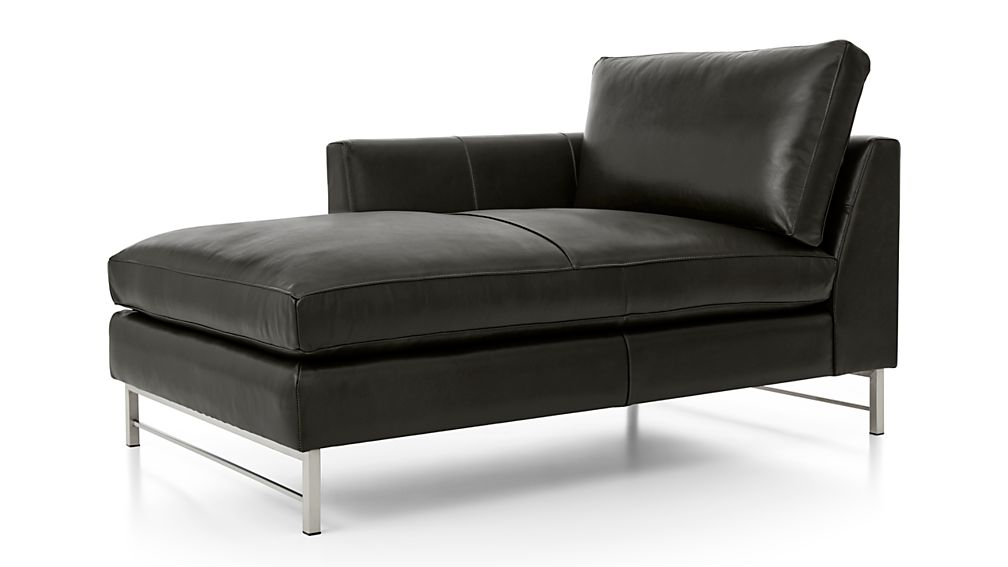 Tyson Leather Left Arm Chaise with Stainless Steel Base - Image 2 of 3