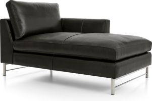 Tyson Leather Right Arm Chaise with Stainless Steel Base shown in Logan, Smoke