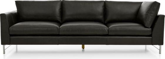 Tyson Leather Left Arm Corner Sofa with Stainless Steel Base shown in Logan, Smoke