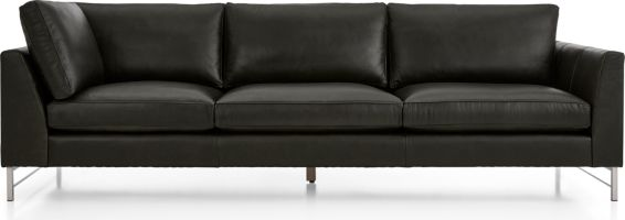 Tyson Leather Right Arm Corner Sofa with Stainless Steel Base shown in Logan, Smoke