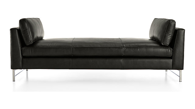 Tyson Leather Daybed with Stainless Steel Base shown in Logan, Smoke