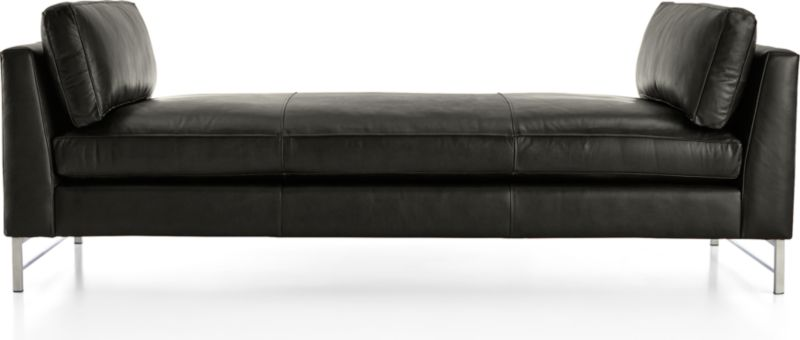TAP TO ZOOM Tyson Leather Daybed With Stainless Steel Base Shown In Logan,  Smoke