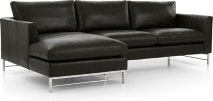 Tyson Leather 2-Piece Left Arm Chaise Sectional with Stainless Steel Base(Left Arm Chaise, Right Arm Sofa) shown in Logan, Smoke