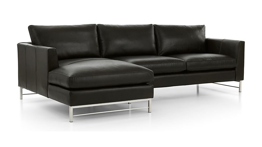 Tyson Leather 2-Piece Left Arm Chaise Sectional with Stainless Steel Base - Image 2 of 3