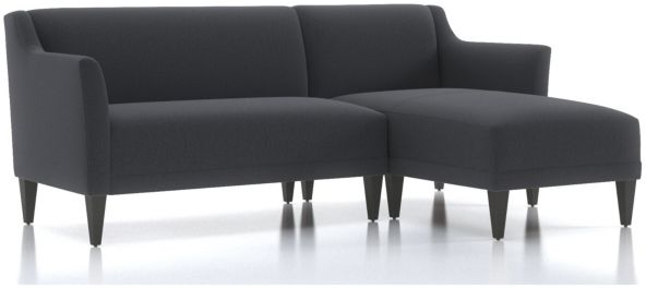 Margot II 2-Piece Right Arm Chaise Sectional(Left Arm Loveseat, Right Arm Chaise) shown in Portrait, Night
