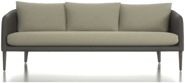 Rhys Leather Bench Seat Sofa shown in Pointe Mineral (frame), Flex Mineral (cushions)