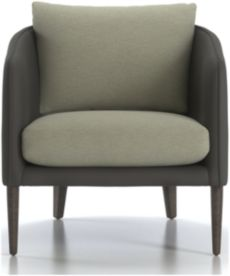 Rhys Leather Bench Seat Chair shown in Pointe Mineral (frame), Flex Mineral (cushions)