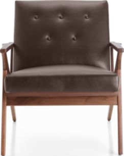 Cavett Leather Tufted Chair shown in Libby, Sumatra