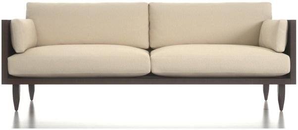 Sherwood 2-Seat Exposed Wood Frame Sofa shown in Curious, Pearl