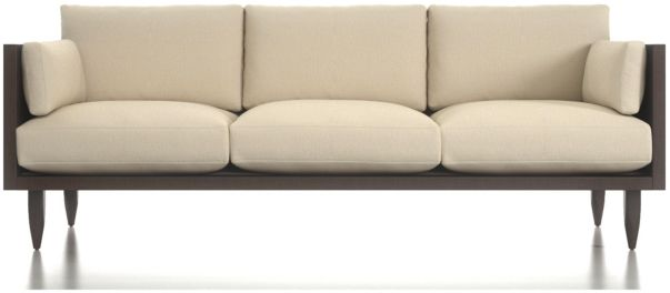 Sherwood 3-Seat Exposed Wood Frame Sofa shown in Curious, Pearl