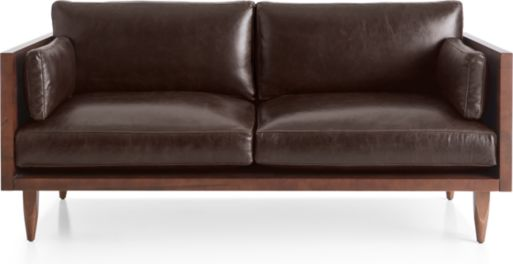 Sherwood Leather Exposed Wood Frame Loveseat shown in Libby, Fudge