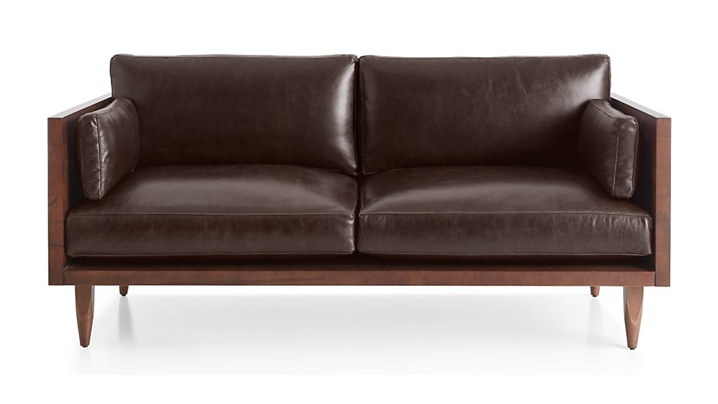 Sherwood Leather Exposed Wood Frame Loveseat - Image 2 of 7