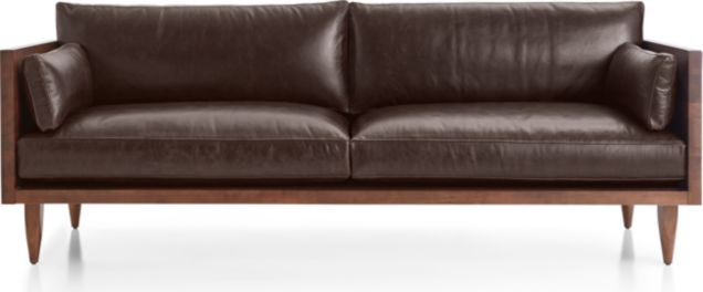 Sherwood Leather 2-Seat Exposed Wood Frame Sofa shown in Libby, Fudge