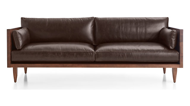 Leather 2 Seat Exposed Wood Frame Sofa