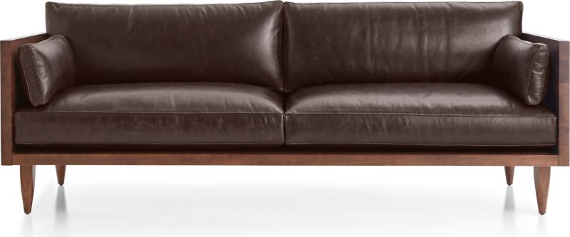 TAP TO ZOOM Sherwood Leather 2 Seat Exposed Wood Frame Sofa Shown In Libby,  Fudge