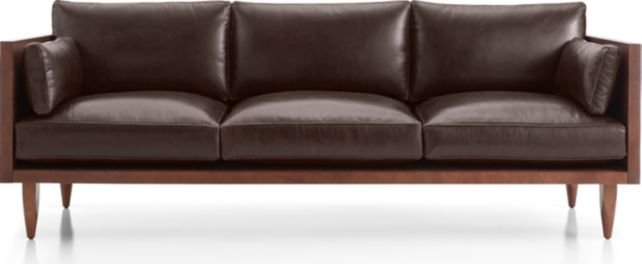 Sherwood Leather 3-Seat Exposed Wood Frame Sofa shown in Libby, Fudge