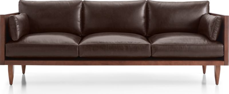 Charmant TAP TO ZOOM Sherwood Leather 3 Seat Exposed Wood Frame Sofa Shown In Libby,  Fudge