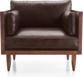 Sherwood Leather Exposed Wood Frame Chair shown in Libby, Fudge