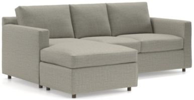 Barrett 3-Seat Queen Reversible Sleeper Sectional with Air Mattress shown in Galaxy, Ash
