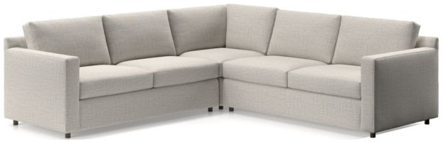 Barrett 3-Piece Sectional(Left Arm Apartment Sofa, Corner, Right Arm Apartment Sofa) shown in Galaxy, Ash