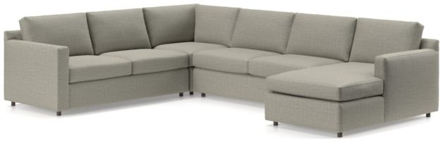 Barrett 4-Piece Right Arm Chaise Sectional(Left Arm Apartment Sofa, Corner, Armless Loveseat, Right Arm Chaise) shown in Galaxy, Ash