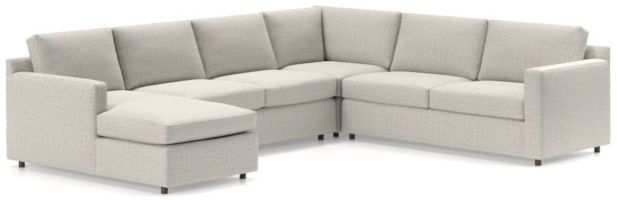 Barrett 4-Piece Left Arm Chaise Sectional(Left Arm Chaise, Armless Loveseat, Corner, Right Arm Apartment Sofa) shown in Galaxy, Ash