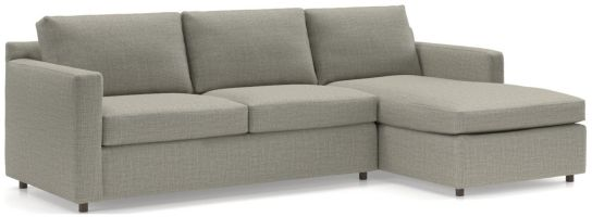 Barrett 2-Piece Right Arm Chaise Sectional(Left Arm Apartment Sofa, Right Arm Chaise) shown in Galaxy, Ash