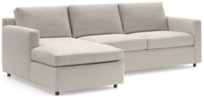 Barrett 2-Piece Left Arm Chaise Sectional(Left Arm Chaise, Right Arm Apartment Sofa) shown in Galaxy, Ash