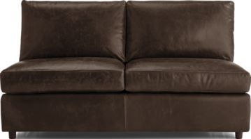 Barrett Leather Armless Loveseat shown in Libby, Storm