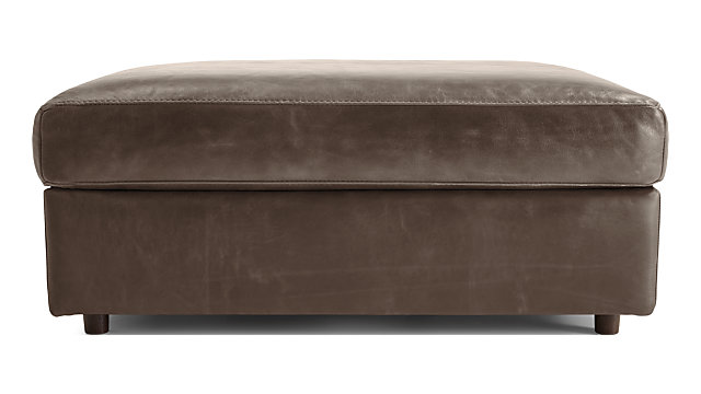 Barrett Leather Ottoman and a Half shown in Libby, Storm