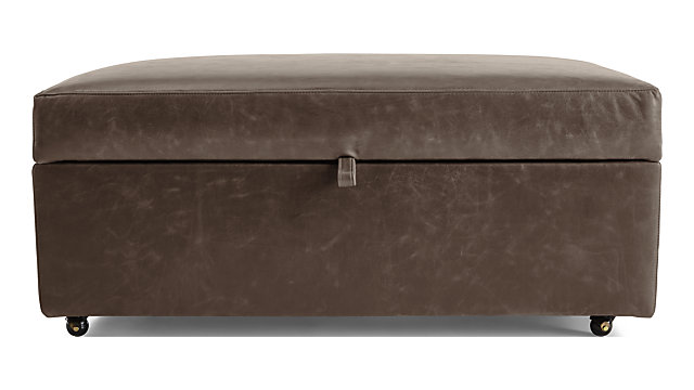 Barrett Leather Storage Ottoman with Tray and Casters shown in Libby, Storm