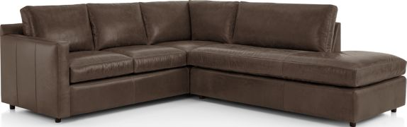 Barrett Leather 2-Piece Right Bumper Sectional(Left Arm Corner Sofa, Right Bumper) shown in Libby, Storm