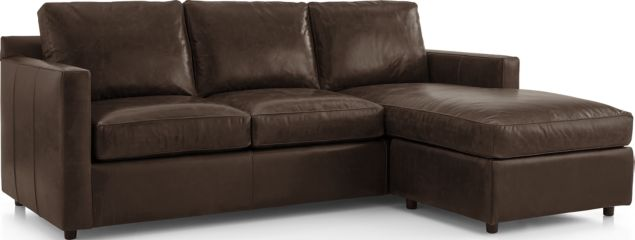 Barrett Leather Right Arm Queen Sleeper Lounger shown in Libby, Storm