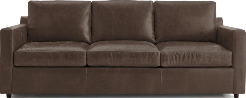 Barrett Leather 3 Seat Track Arm Sofa by Crate&Barrel