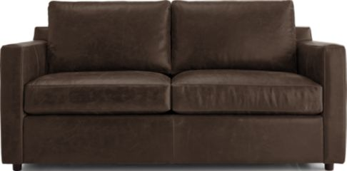 Barrett Leather Track Arm Apartment Sofa shown in Libby, Storm
