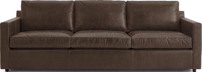 "Barrett Leather 103"" Grande Track Arm Sofa shown in Libby, Storm"