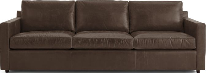 "Barrett Leather 103"" Grande Track Arm Sofa shown in Libby, Storm"