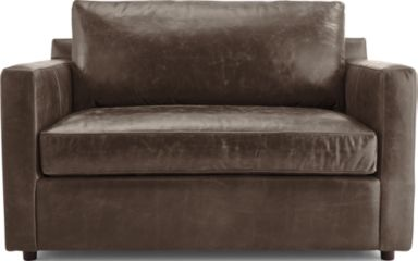 Barrett Leather Twin Sleeper with Air Mattress shown in Libby, Storm