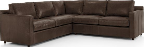Barrett Leather 3-Piece Sectional(Left Arm Apartment Sofa, Corner, Right Arm Apartment Sofa) shown in Libby, Storm