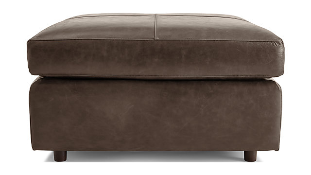 Barrett Leather Square Cocktail Ottoman shown in Libby, Storm