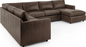 Barrett Leather 4-Piece Right Arm Chaise Sectional(Left Arm Apartment Sofa, Corner, Armless Loveseat, Right Arm Apartment Sofa) shown in Libby, Storm